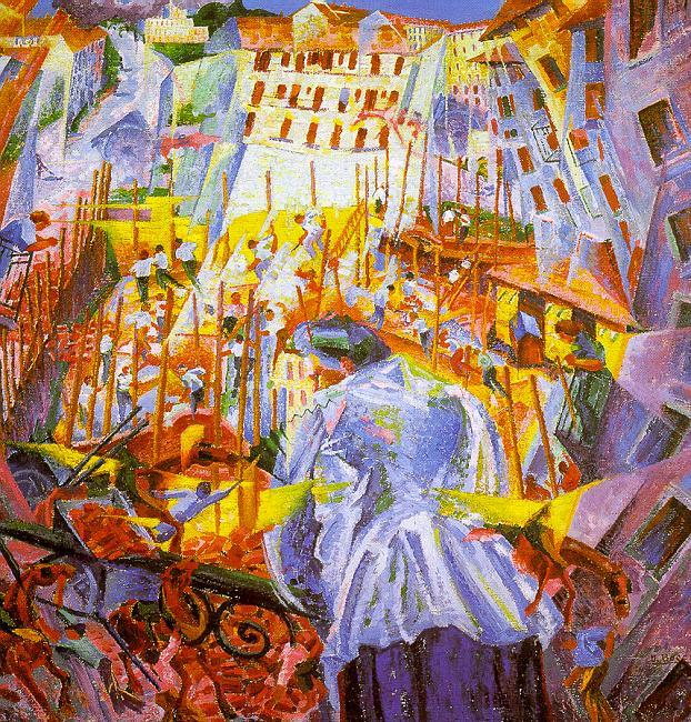 Umberto Boccioni Street Noises Invade the House oil painting image